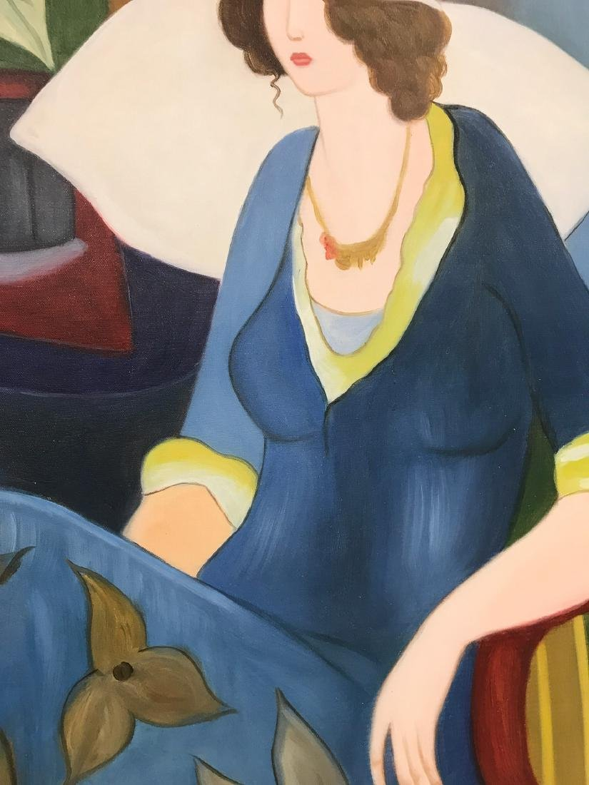Oil on Canvas of Woman in Blue Sitting - 4