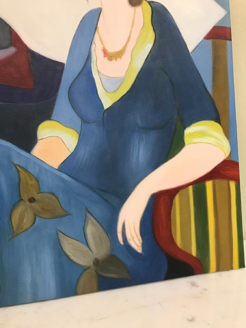 Oil on Canvas of Woman in Blue Sitting - 6