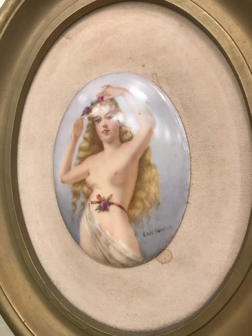 Vintage Porcelain Plaque of Nude Woman - 2