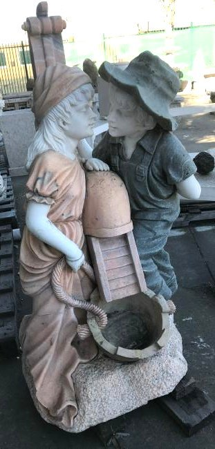 Multi-Colored Marble Fountain w/ Boy and Girl