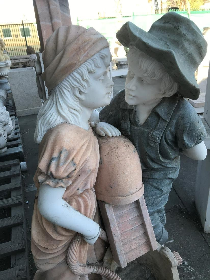 Multi-Colored Marble Fountain w/ Boy and Girl - 2