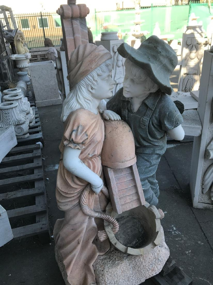 Multi-Colored Marble Fountain w/ Boy and Girl - 5