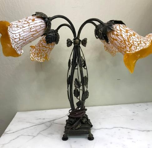 Bronze, Hand-Blown Glass Table Lamp