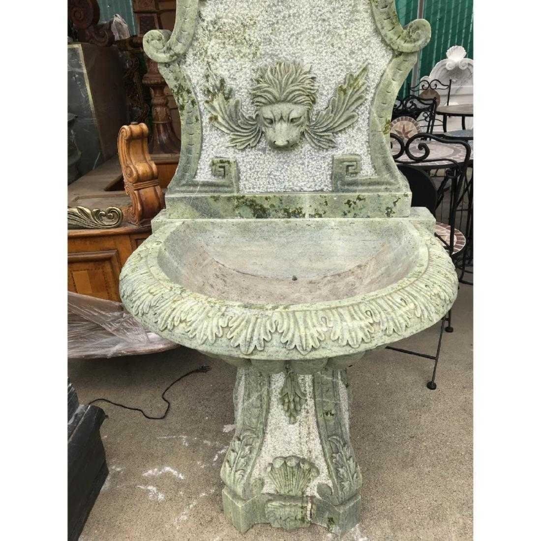 Green Marble Fountain with Lion Head - 3