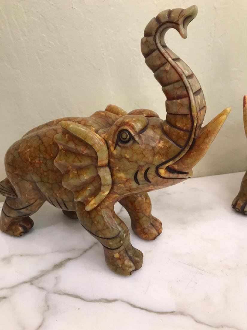 Pair of Hand-Carved Jade Elephant Statues - 2