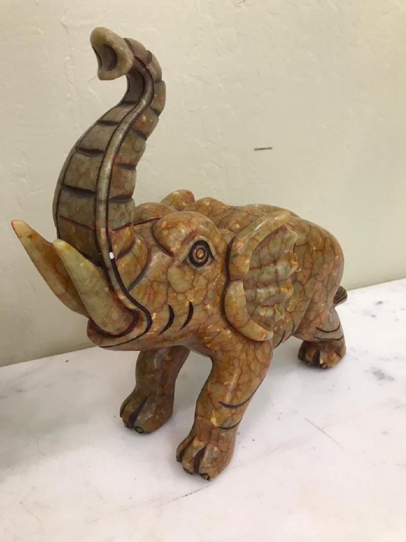 Pair of Hand-Carved Jade Elephant Statues - 3