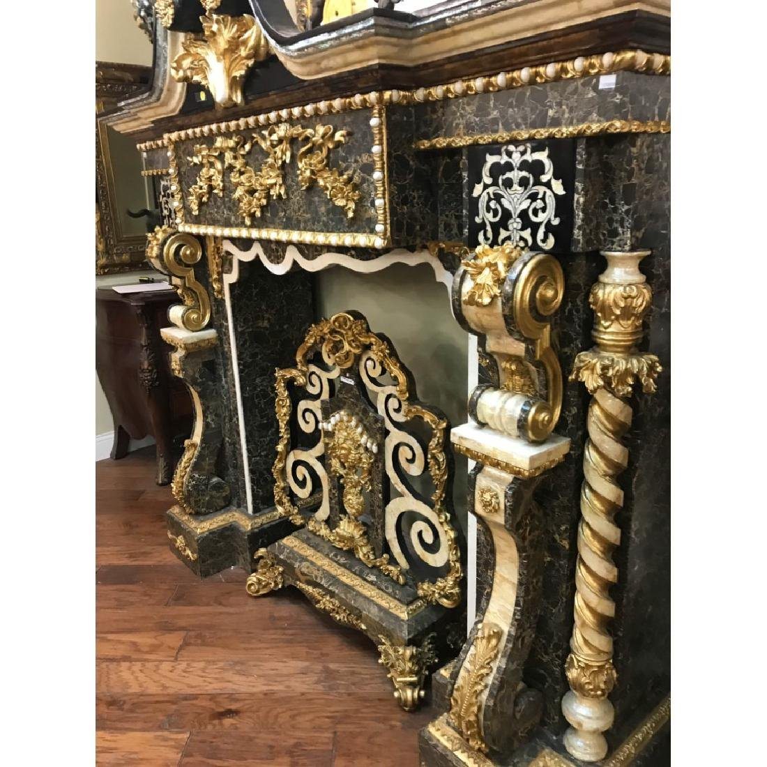 Marble, Mother of Pearl, Gold Leaf Fireplace - 10