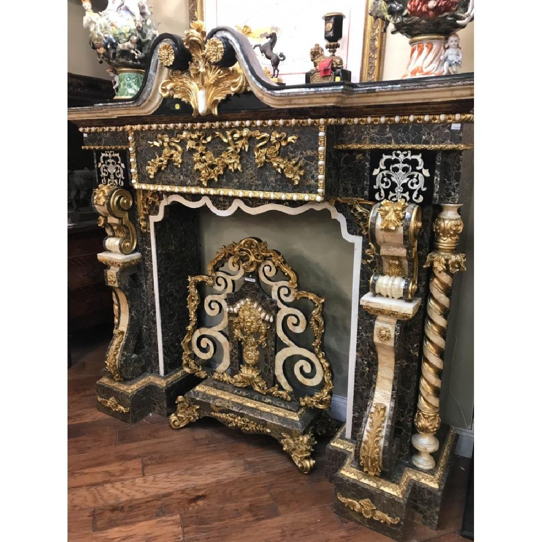 Marble, Mother of Pearl, Gold Leaf Fireplace