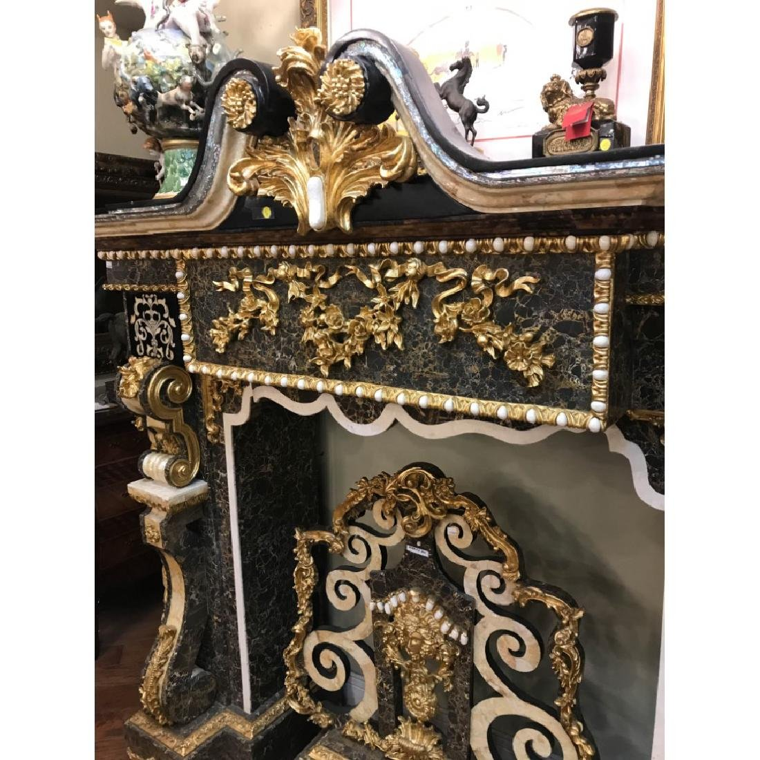 Marble, Mother of Pearl, Gold Leaf Fireplace - 2