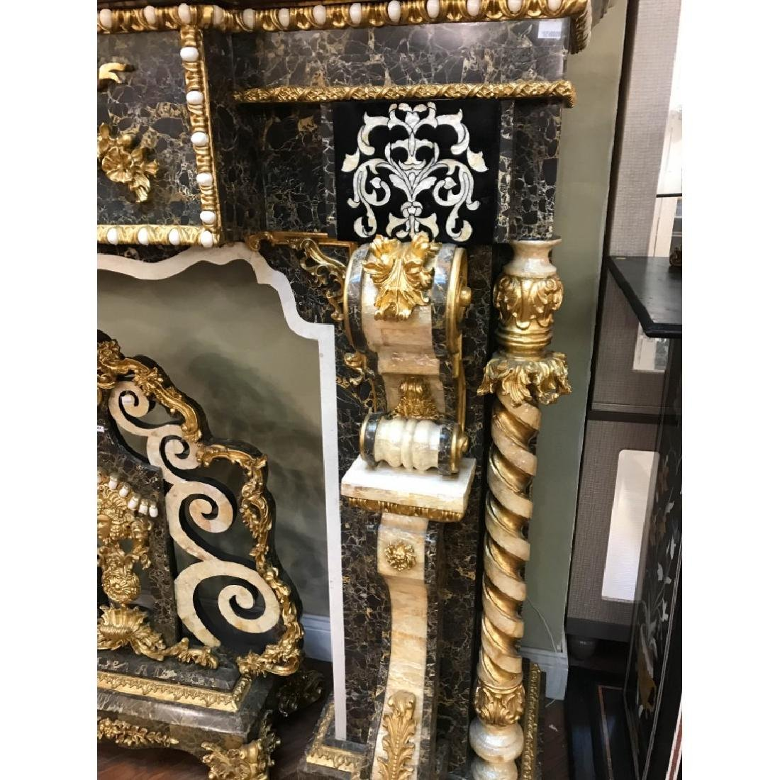 Marble, Mother of Pearl, Gold Leaf Fireplace - 3
