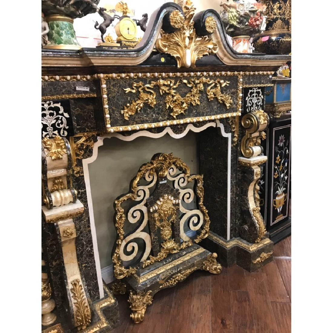 Marble, Mother of Pearl, Gold Leaf Fireplace - 4