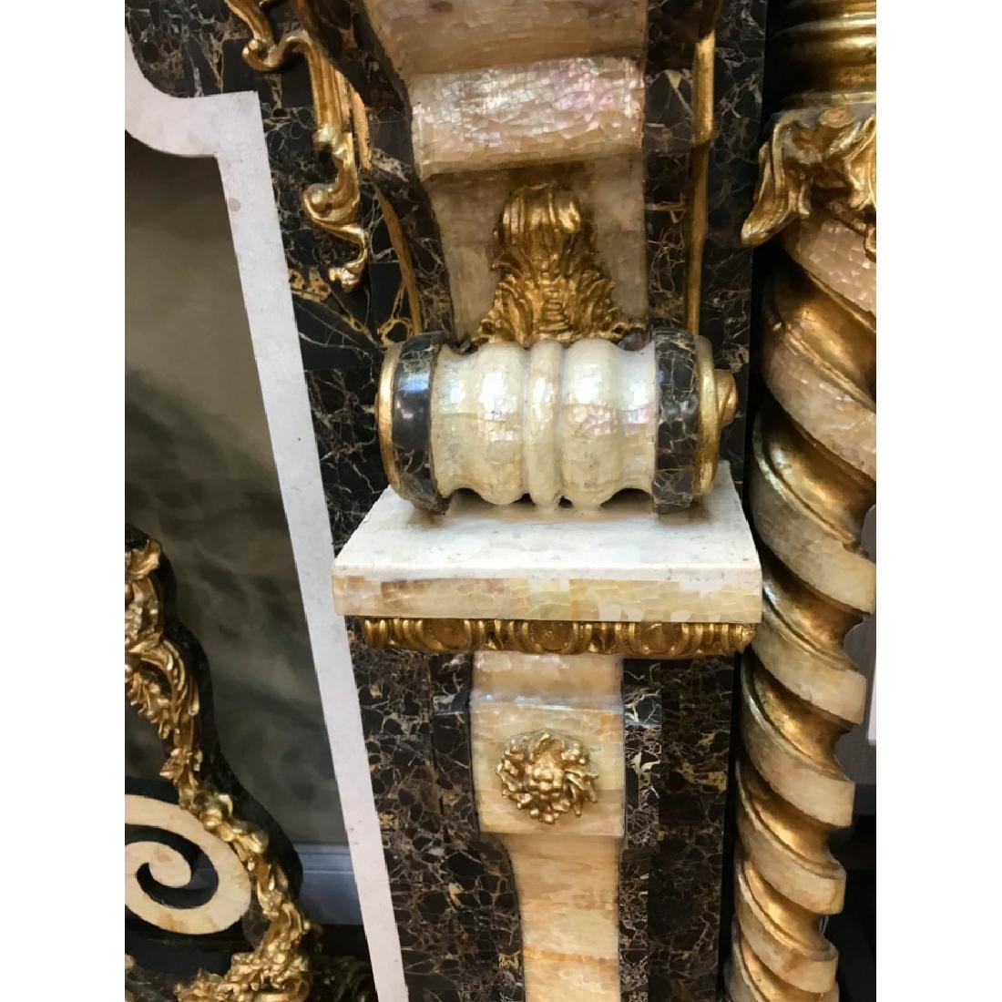 Marble, Mother of Pearl, Gold Leaf Fireplace - 7