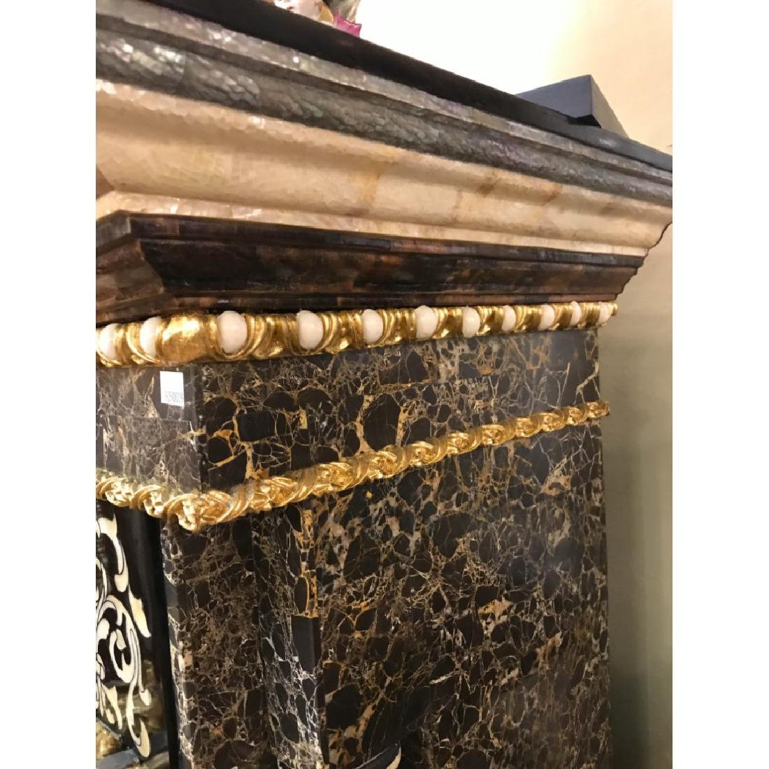 Marble, Mother of Pearl, Gold Leaf Fireplace - 8
