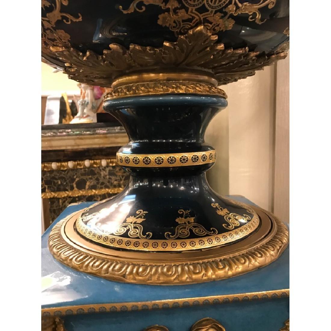 Pair of Porcelain 24k Gilded Bronze Vases - 10