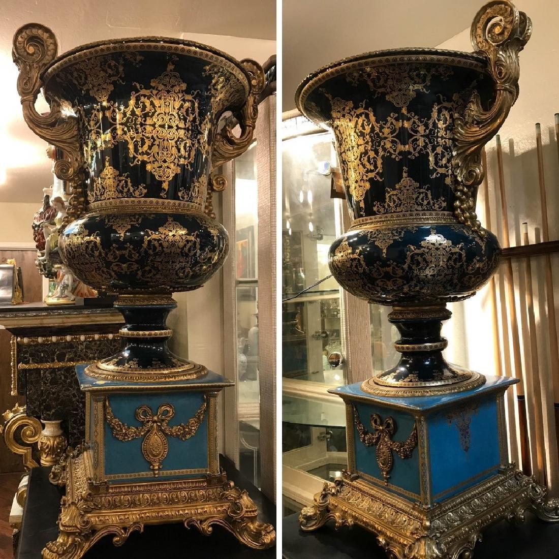 Pair of Porcelain 24k Gilded Bronze Vases