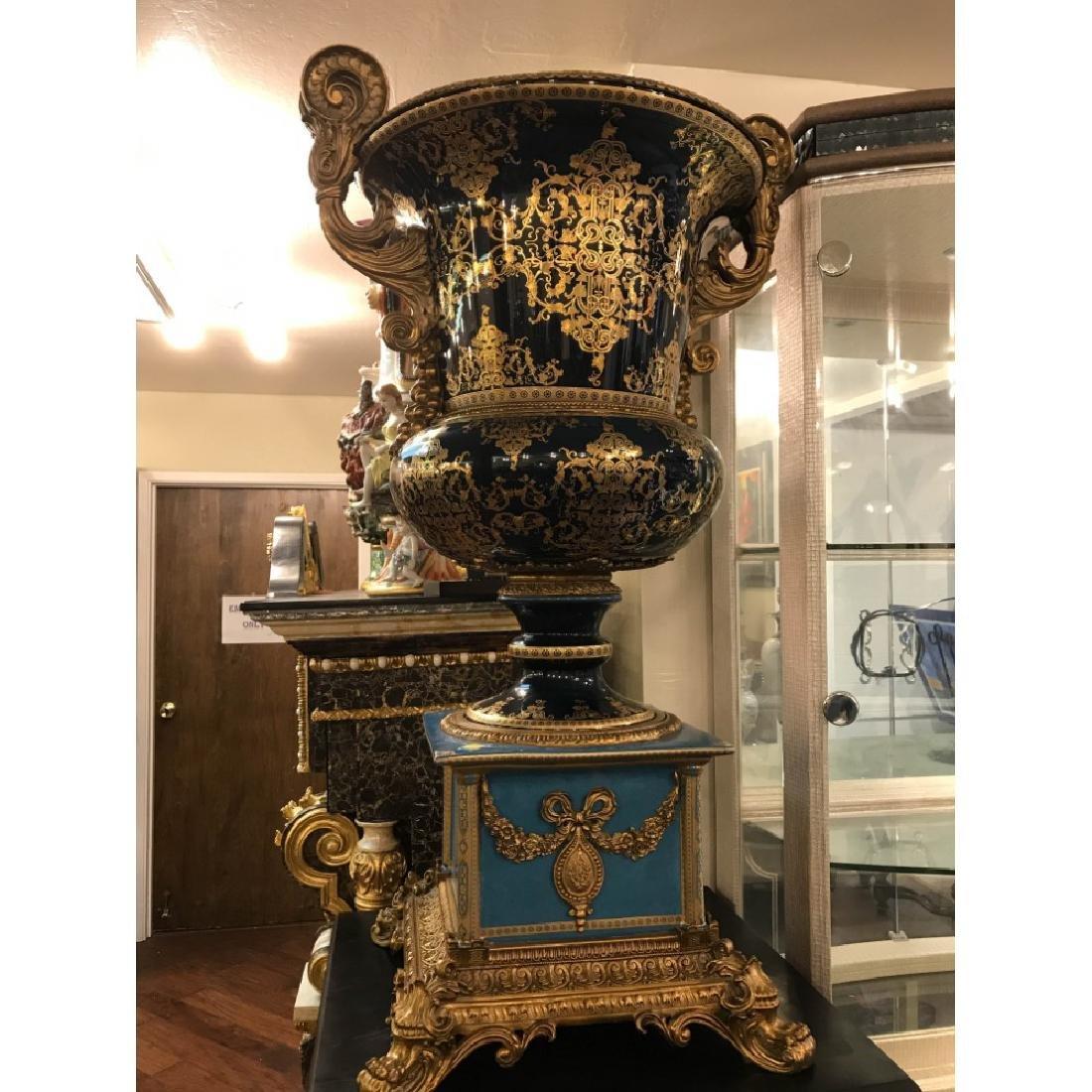Pair of Porcelain 24k Gilded Bronze Vases - 2