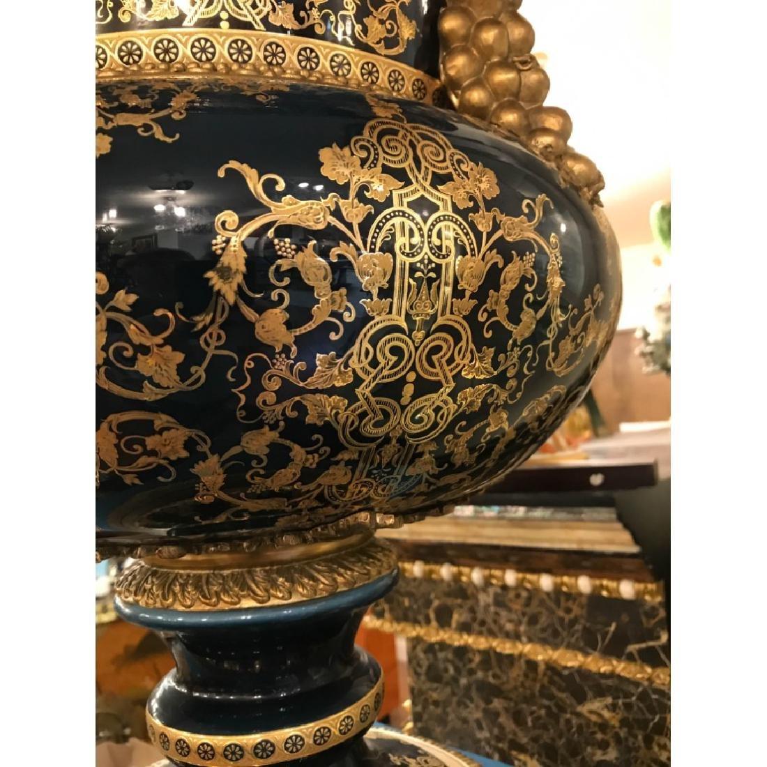 Pair of Porcelain 24k Gilded Bronze Vases - 7