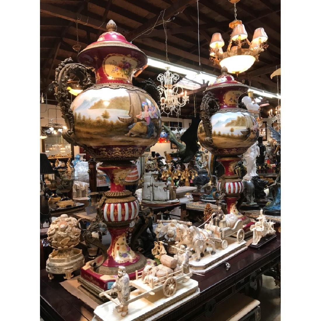 Pair of Porcelain Bronze 24k Hand-Painted Vases
