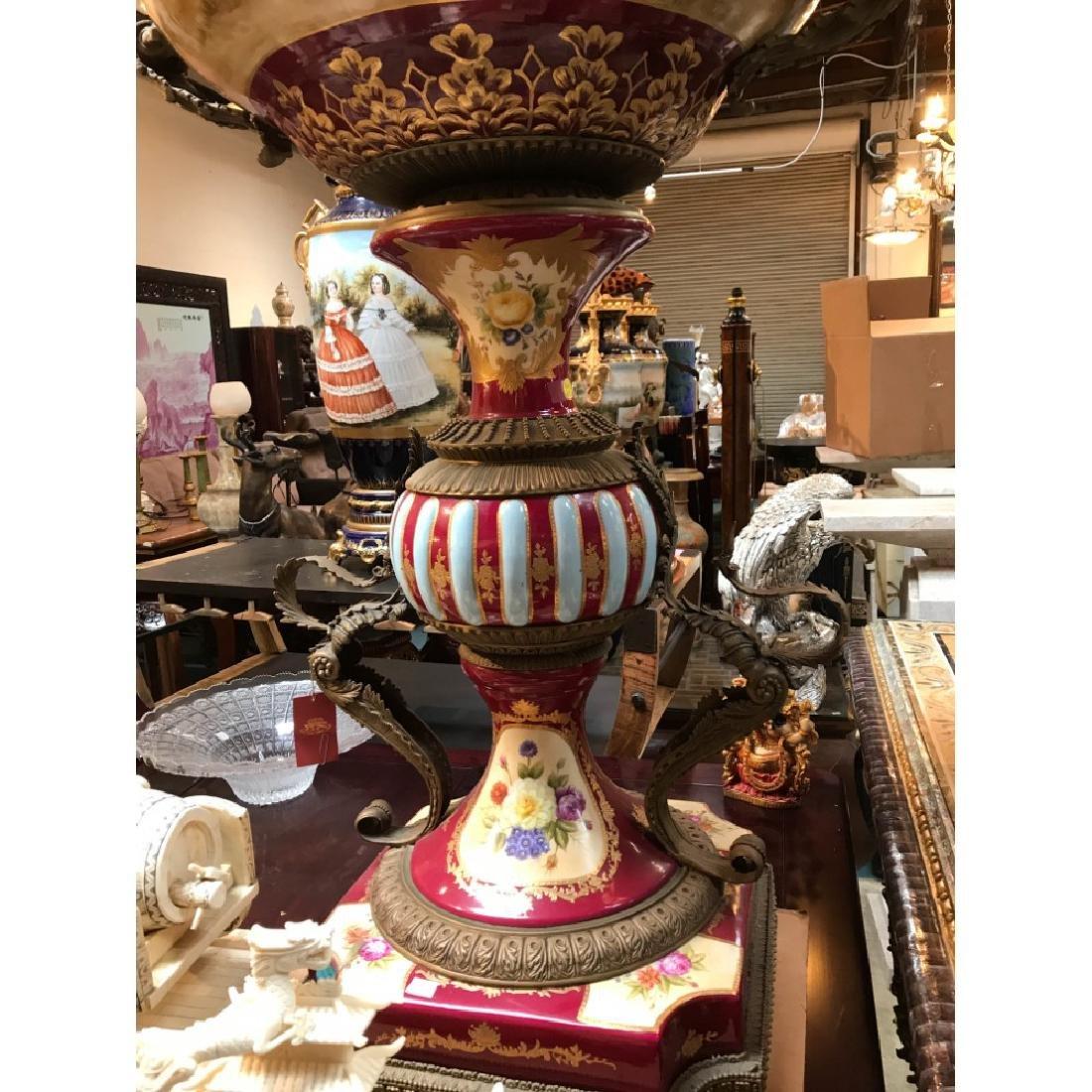 Pair of Porcelain Bronze 24k Hand-Painted Vases - 5