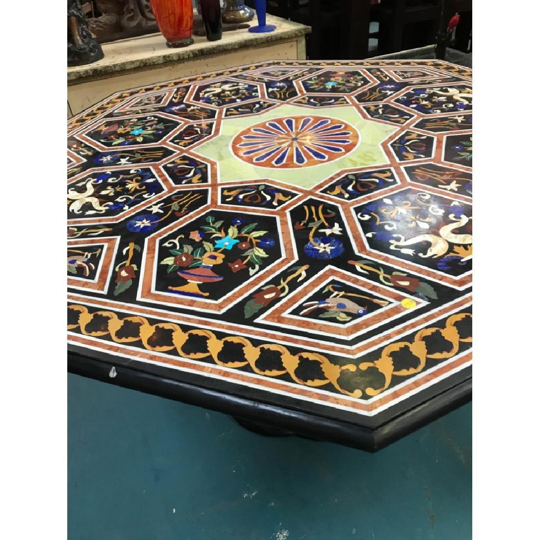 Mosaic Pietra Dura Octagon-Shaped Table - 2