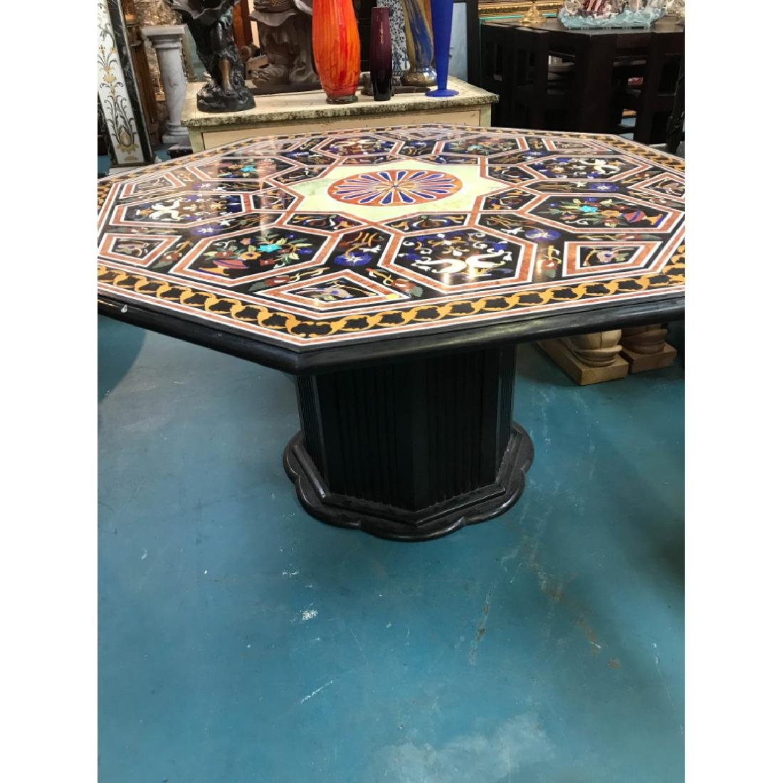 Mosaic Pietra Dura Octagon-Shaped Table - 4