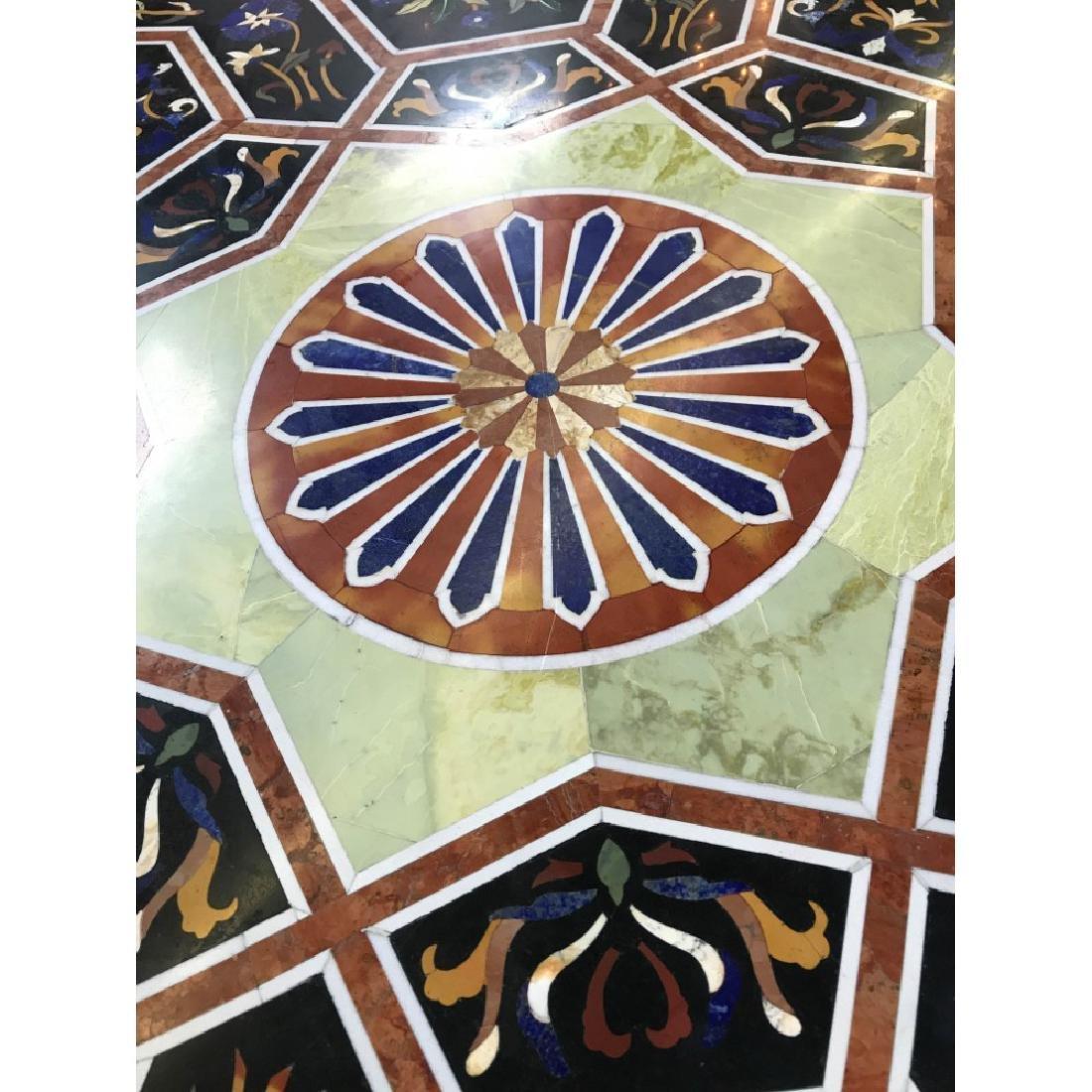 Mosaic Pietra Dura Octagon-Shaped Table - 7