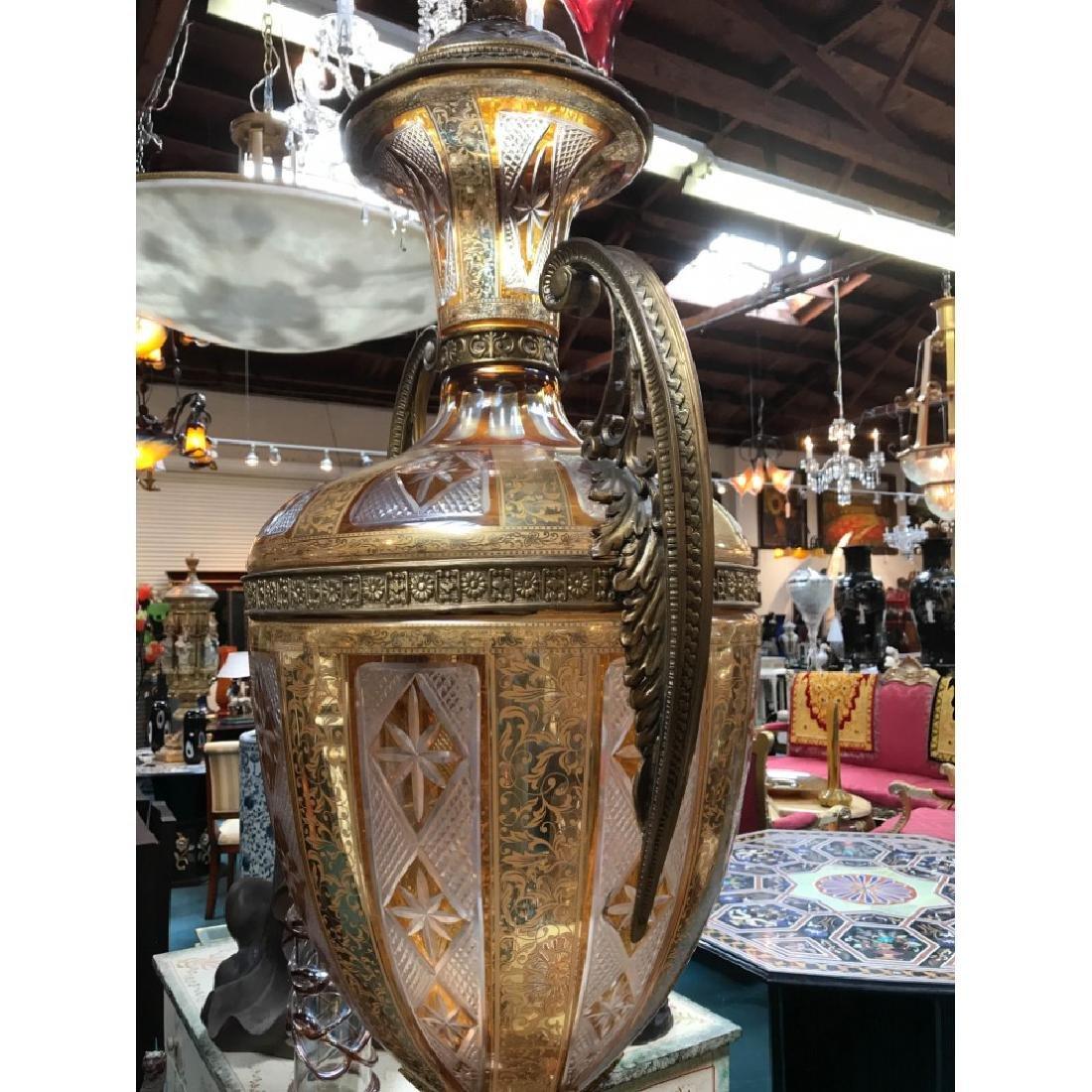 Pair of Hand-Cut Crystal, 24k Bronze Vases - 10