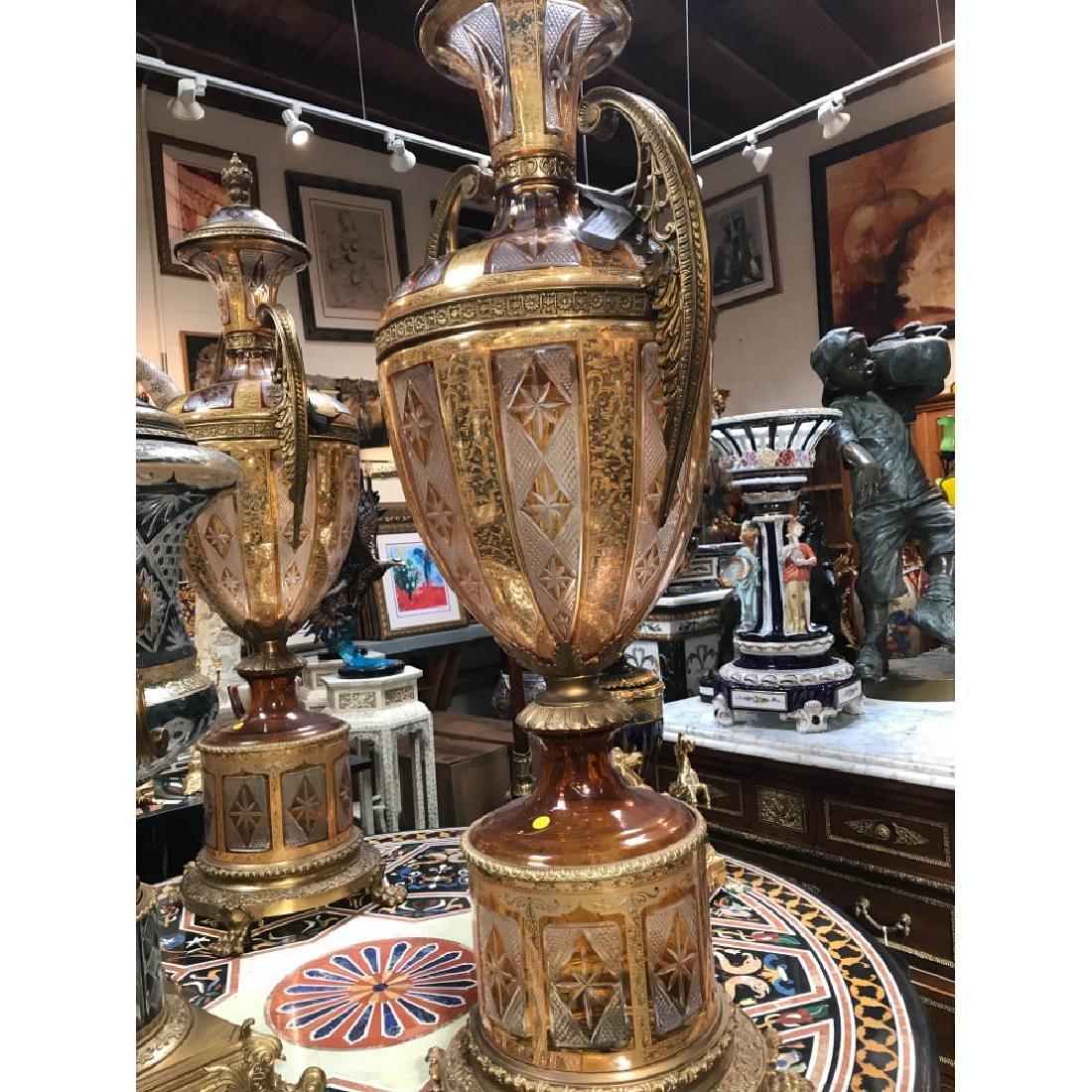 Pair of Hand-Cut Crystal, 24k Bronze Vases