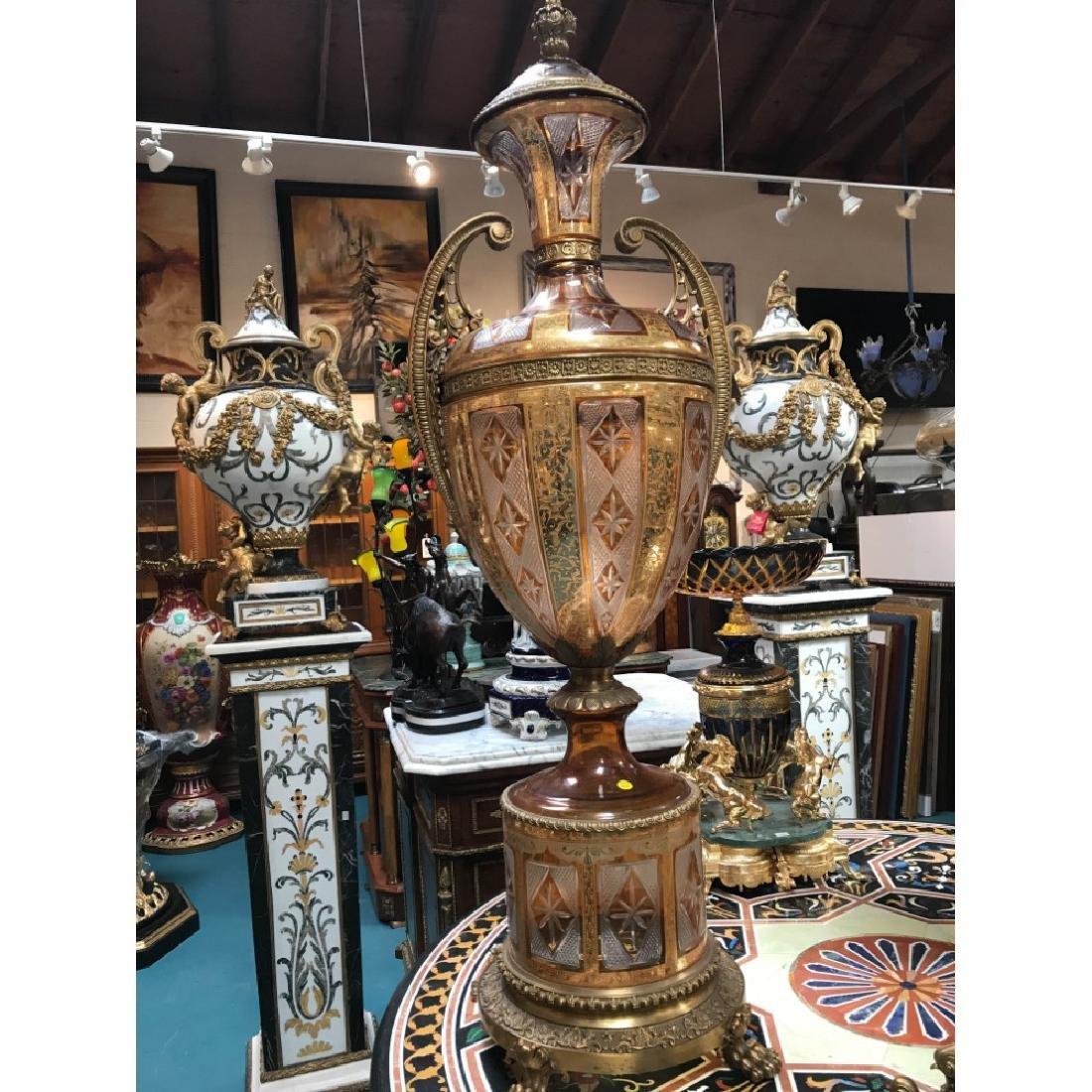 Pair of Hand-Cut Crystal, 24k Bronze Vases - 2