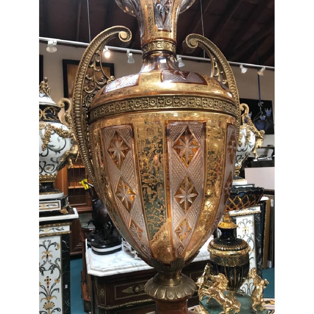 Pair of Hand-Cut Crystal, 24k Bronze Vases - 3
