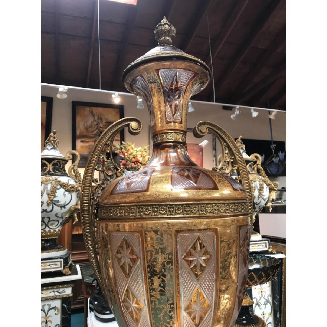 Pair of Hand-Cut Crystal, 24k Bronze Vases - 4