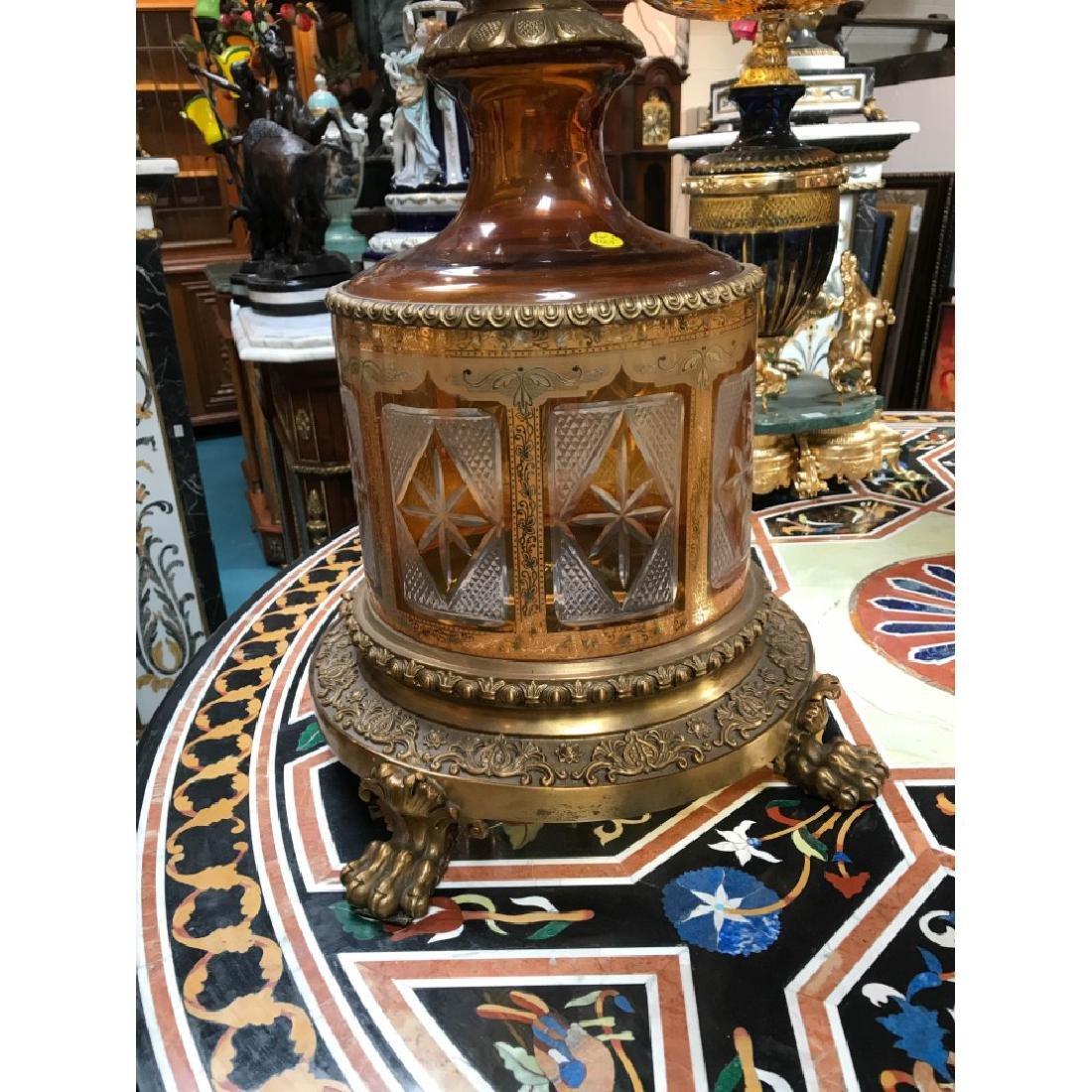 Pair of Hand-Cut Crystal, 24k Bronze Vases - 5