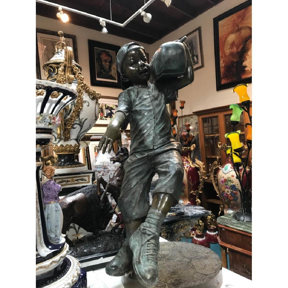 Bronze Statue of Boy w/ Boombox by J. Davidson
