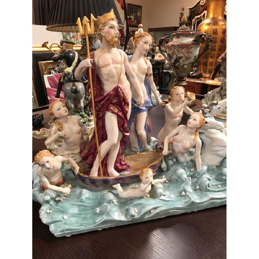 Porcelain Statue with Poseidon, God of the Sea