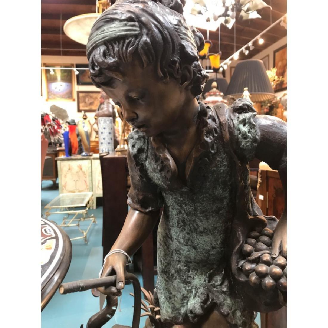 Bronze Statue/Fountain of Girl w/ Basket - 2