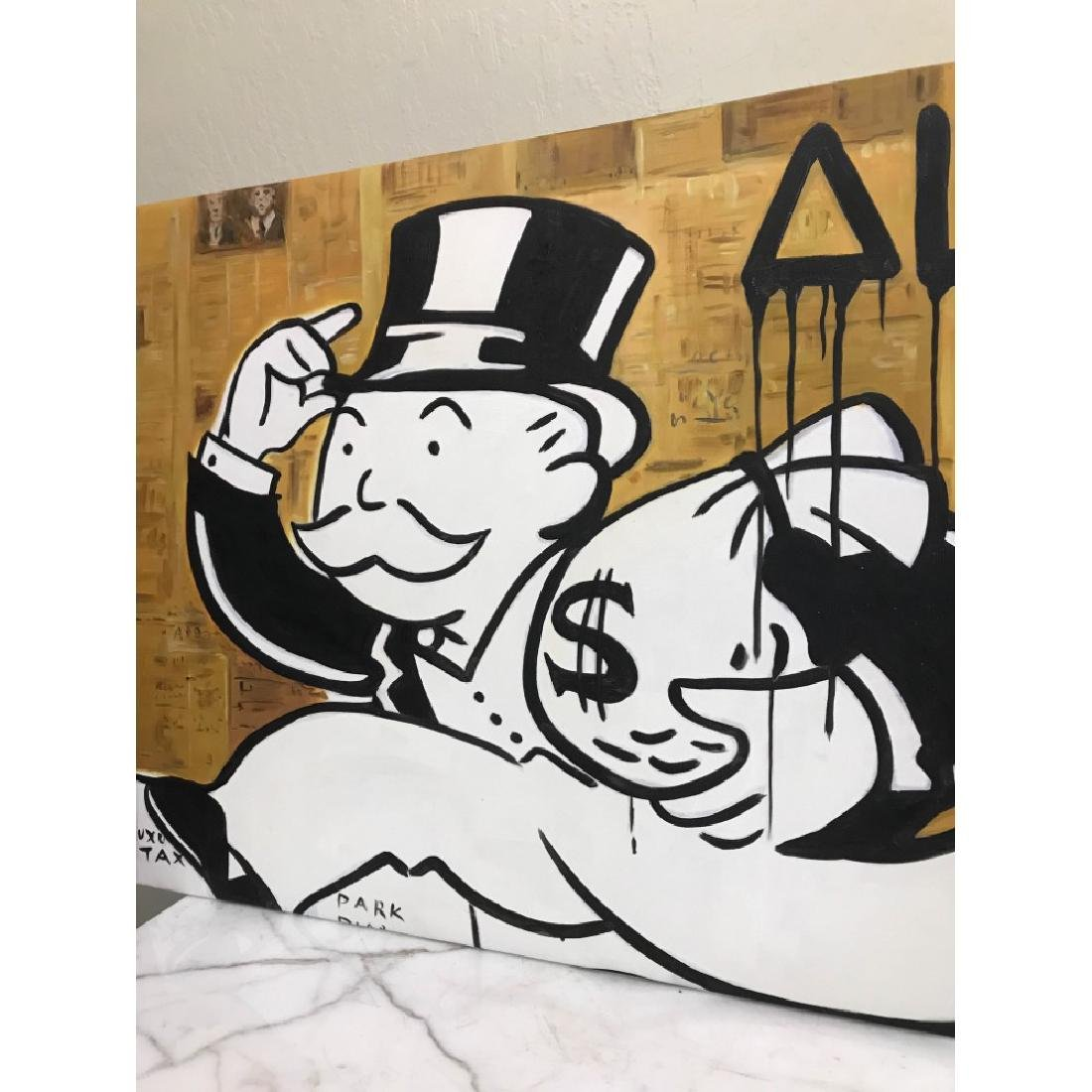 Oil on Canvas of Monopoly Man w/ Bag of Money - 2