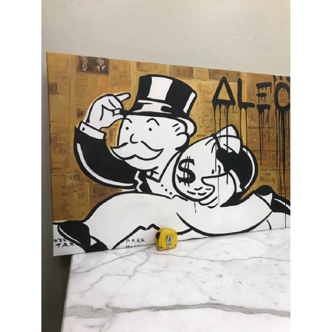 Oil on Canvas of Monopoly Man w/ Bag of Money - 8