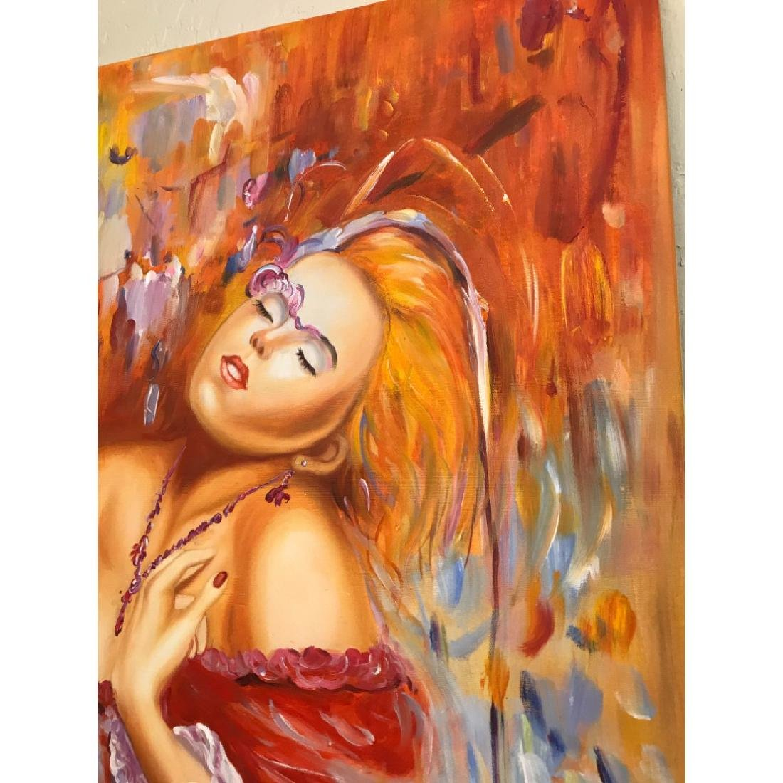 Oil on Canvas of Woman Dreaming in Red - 10