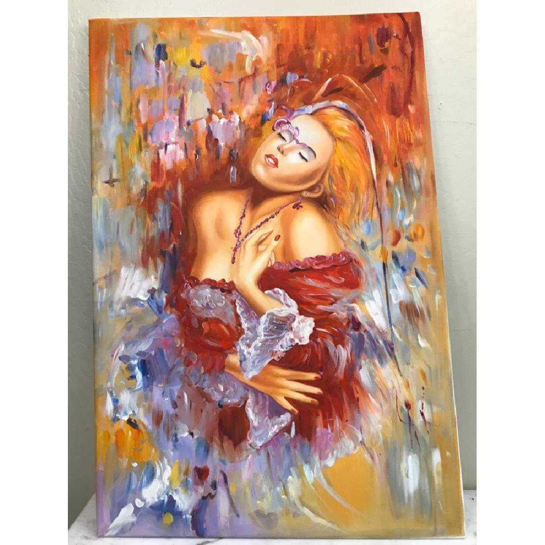 Oil on Canvas of Woman Dreaming in Red