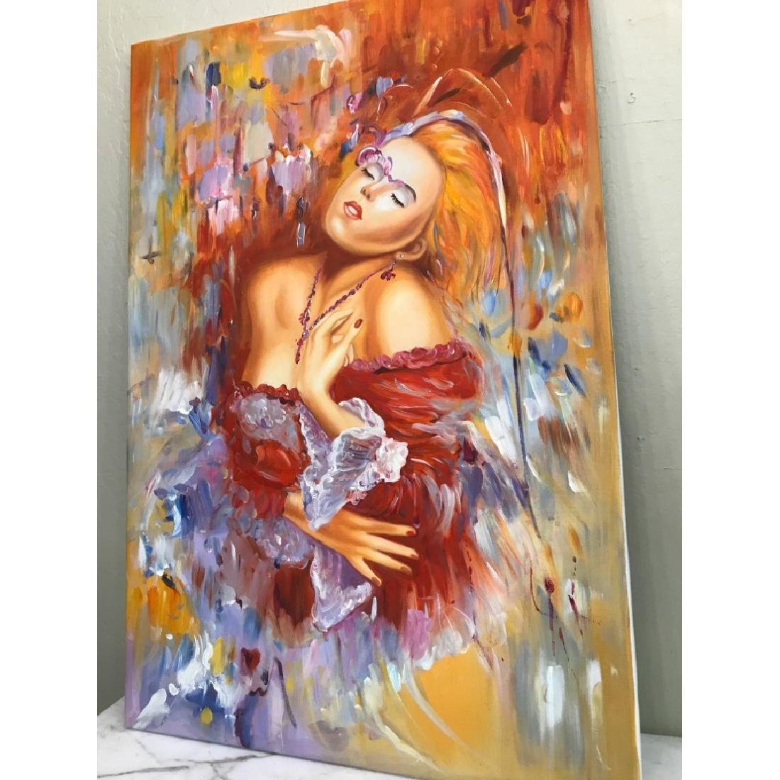 Oil on Canvas of Woman Dreaming in Red - 4