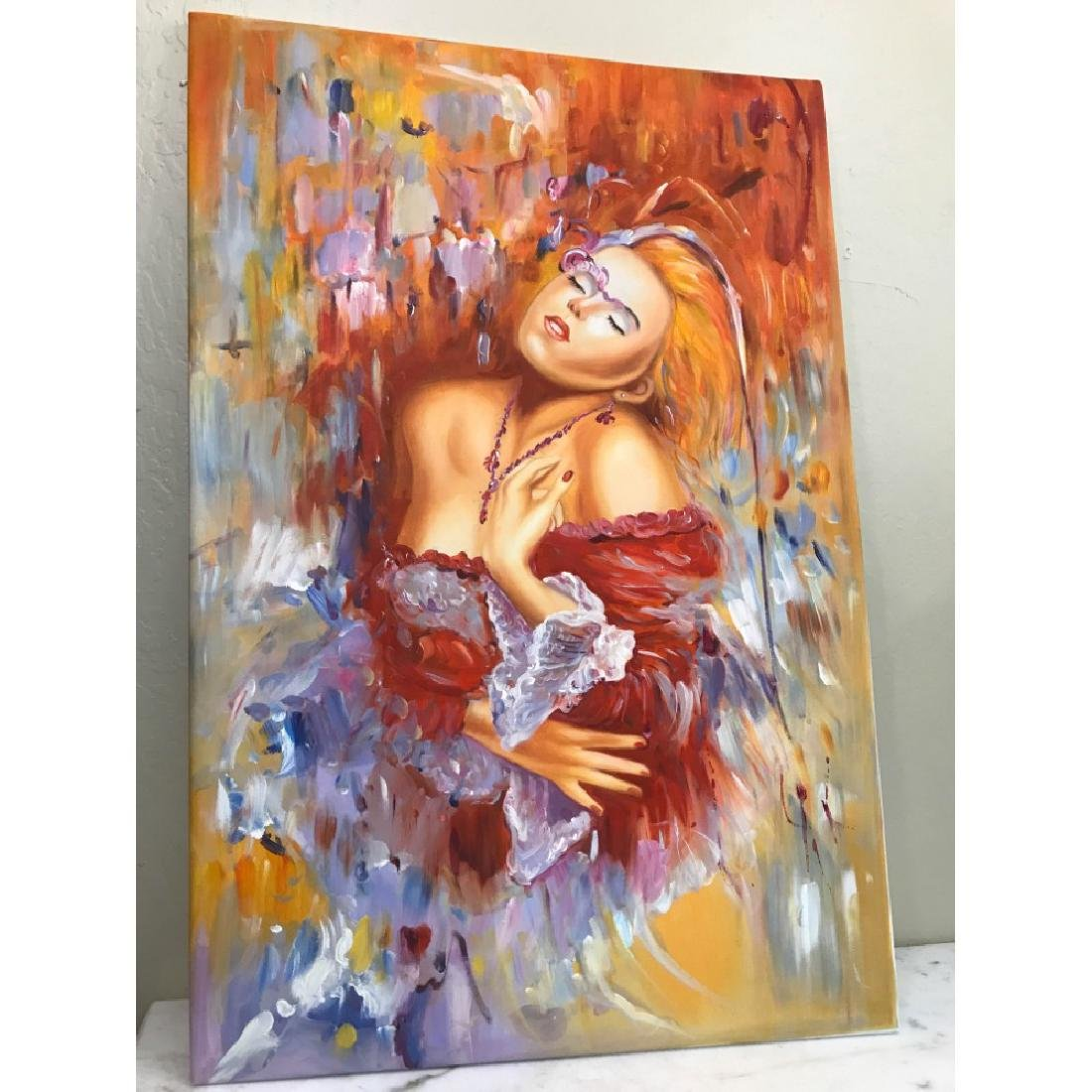 Oil on Canvas of Woman Dreaming in Red - 5