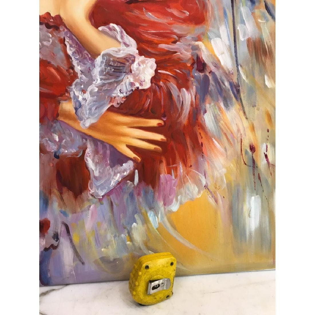 Oil on Canvas of Woman Dreaming in Red - 8
