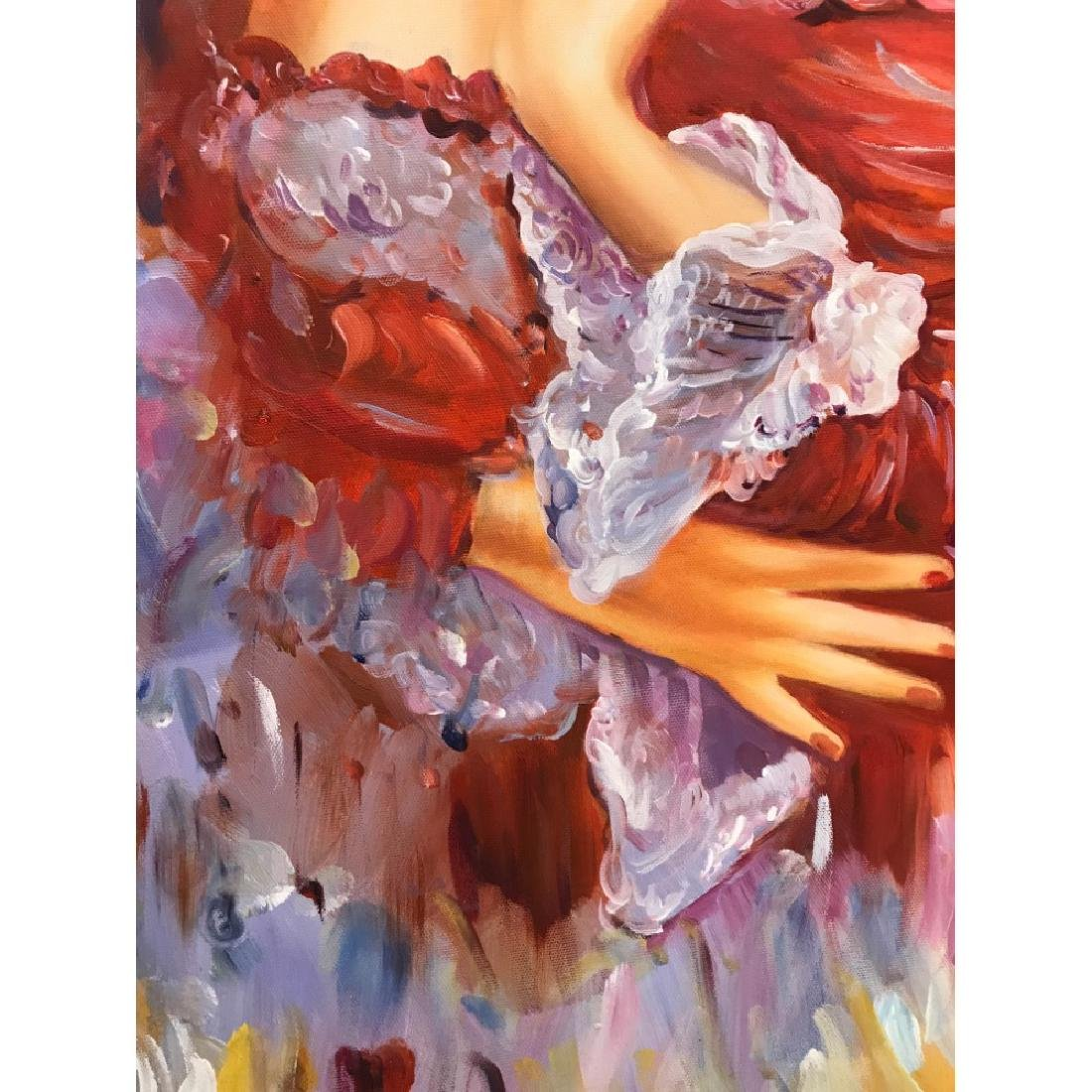 Oil on Canvas of Woman Dreaming in Red - 9