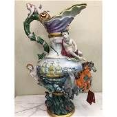 German Porcelain Vase w/ Sailboat, Horses, Cherubs