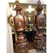 Pair of Large Porcelain, 24k Gilded Bronze Vases