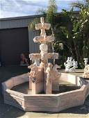Multi-Tiered Marble Fountain w/ Horses, Lions