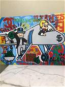 Oil on Canvas of Monopoly Man and Rich on Airplane