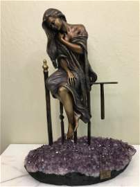 Bronze & Amethyst Vidal Statue of Woman