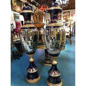 Pair of Porcelain Vases w/ 24k Gold Leaf, Signed