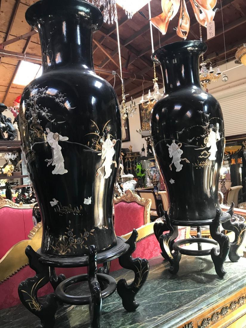 Pair of Large Chinese Black Porcelain Vases